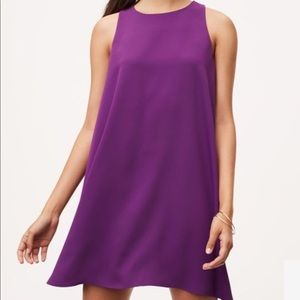 LOFT Purple Ruffle Swing Back Dress